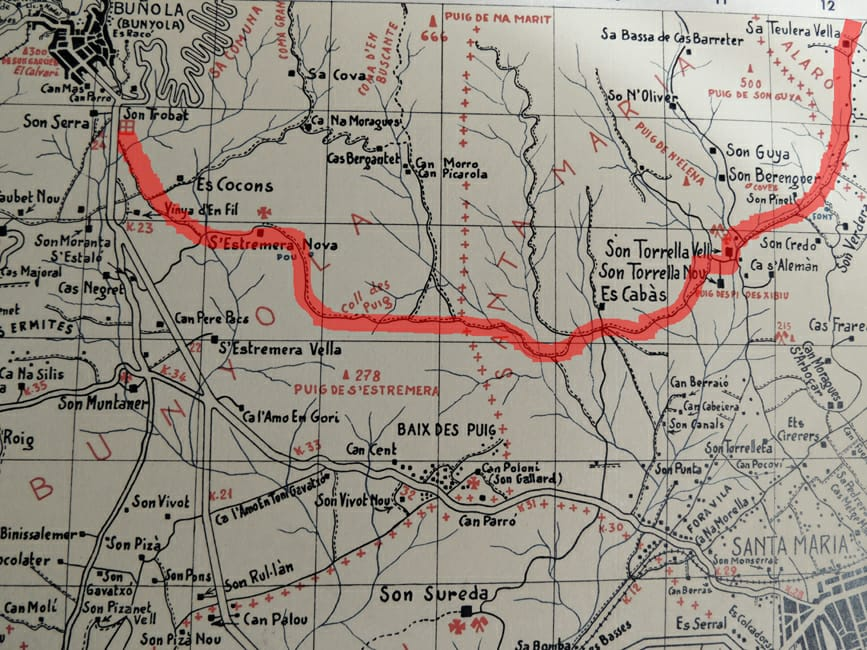 Mapa camí des Cabàs